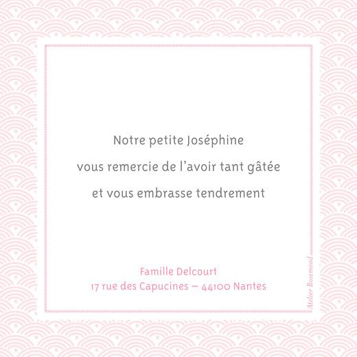 Carte de remerciement Merci pattern fantaisie ecusson rose - Page 2