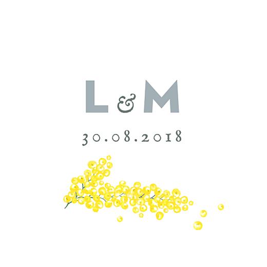 Etiquette perforée mariage Mimosa jaune