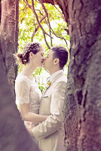 Carte de remerciement mariage Graphique portrait orange et turquoise