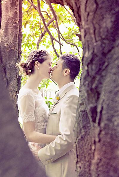 Carte de remerciement mariage Graphique portrait orange et turquoise finition
