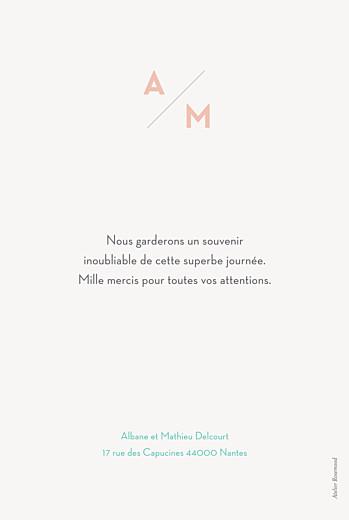 Carte de remerciement mariage Graphique portrait orange et turquoise - Page 2