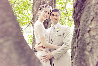 Carte de remerciement mariage Graphique paysage orange et turquoise finition