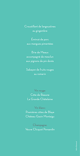 Menu de mariage Graphique orange et turquoise - Page 2