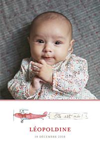 Faire-part de naissance jouets avion 3 photos (version fille) rouge