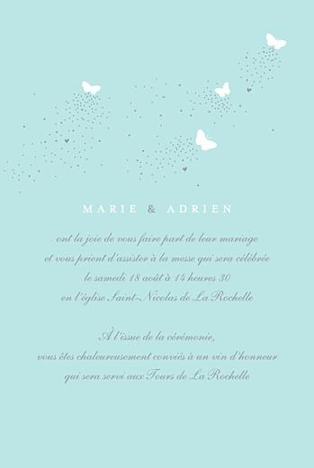 Faire-part de mariage Papillons portrait blanc et bleu - Page 3
