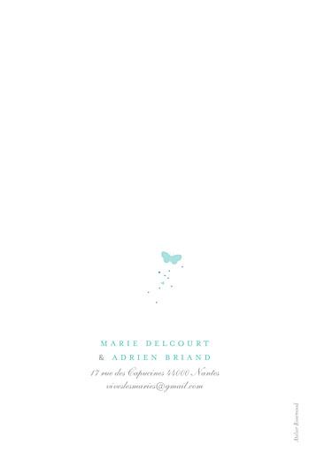 Faire-part de mariage Papillons portrait blanc et bleu - Page 4