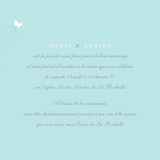 Faire-part de mariage Papillons (carré) blanc et bleu - Page 3