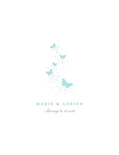 Faire-part de mariage Papillons (grand format) blanc et bleu