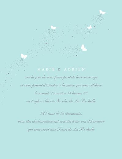 Faire-part de mariage Papillons (grand format) blanc et bleu - Page 3