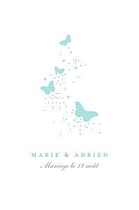 Carton d'invitation mariage rose papillons (portrait) blanc et bleu