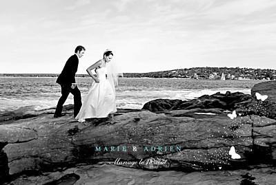 Carte de remerciement mariage Papillons paysage blanc et bleu finition