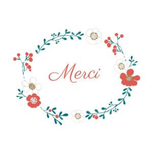 Carte de remerciement Couronne de fleurs vert rouge
