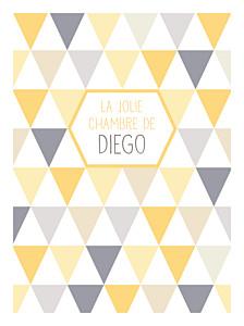 Affichette motifs triangles jaune violet