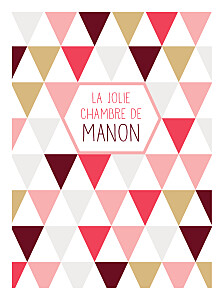 Affichette rouge triangles rose & corail