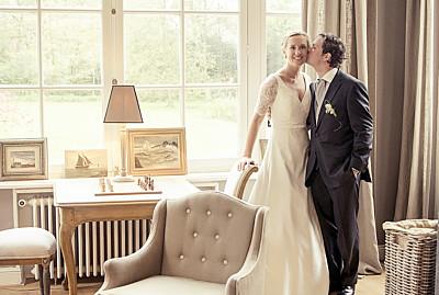Carte de remerciement mariage Chic photo (paysage) orange finition