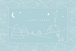 Carte de voeux sans photo douce nuit bleu glacier