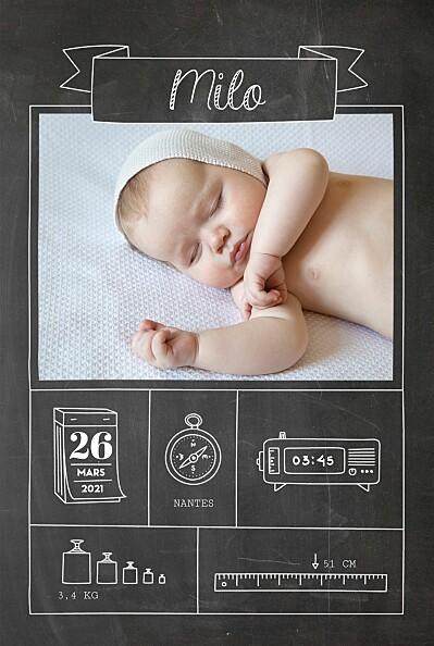 Faire-part de naissance Pictos ardoise 4 photos noir finition
