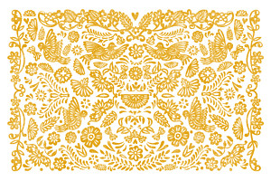 Carte de correspondance Papel picado jaune