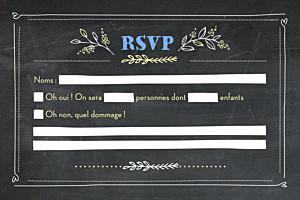 Carton réponse mariage noir ardoise fleurs