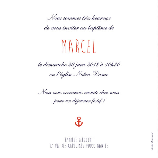 Faire-part de baptême Matelot bleu - Page 2