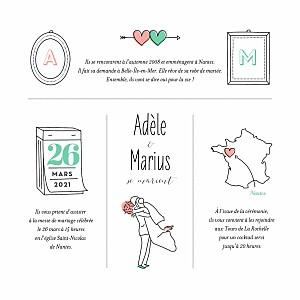 Faire-part de mariage automne pictos carré bague