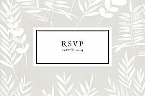 Carton d'invitation mariage Feuillage gris