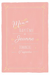 Menu de baptême vintage happy day corail