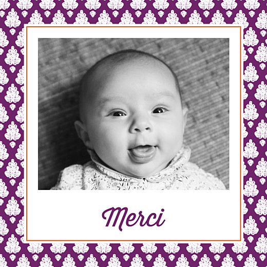 Carte de remerciement Merci batik photo violet - Page 1