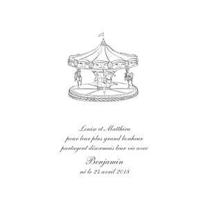 Faire-part de naissance louise pianetti carrousel 2 photos blanc