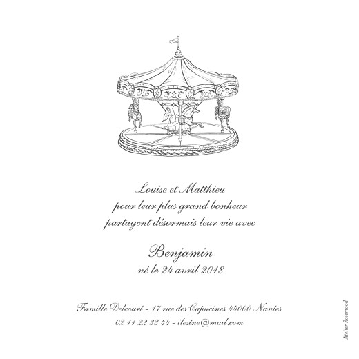 Faire-part de naissance Carrousel photo blanc