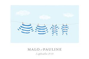 Faire-part de naissance rayures fil à linge marinières jumeaux bleu