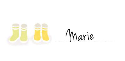 Marque-place Baptême Balade jumeaux jaune finition