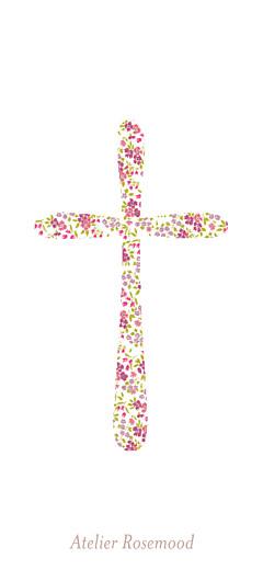 Etiquette perforée baptême Croix liberty rose - Page 2