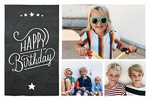 Carte d'anniversaire noir ardoise noir