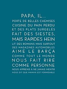 Affichette Justifié fête des pères bleu canard