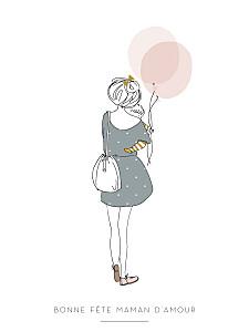 Affichette célébration lovely mum blanc
