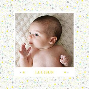 Faire-part de naissance Liberty étoiles photos 4 pages jaune