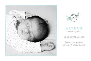 Faire-part de naissance animaux hibou aquarelle photo blanc