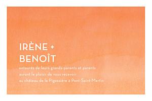 Carton d'invitation mariage orange aquarelle orange