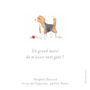 Carte de remerciement Petit chien aquarelle blanc