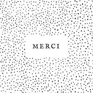 Carte de remerciement noir et blanc merci little dots noir et blanc