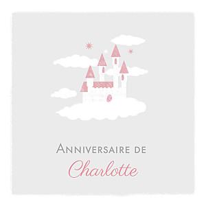 Carte d'anniversaire jumeaux château dans le ciel photo gris clair