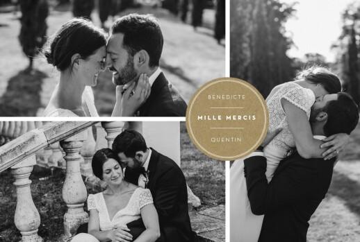 Carte de remerciement mariage Médaillon 4 photos paysage kraft