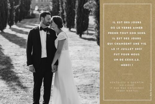 Carte de remerciement mariage Médaillon 4 photos paysage kraft - Page 2
