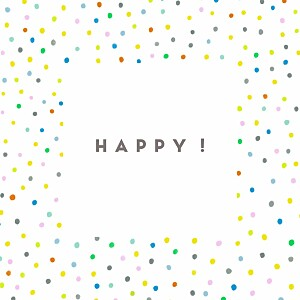 Faire-part de naissance pois happy (triptyque) blanc
