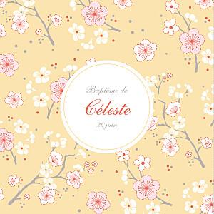 Faire-part de baptême jaune cerisiers en fleurs jaune