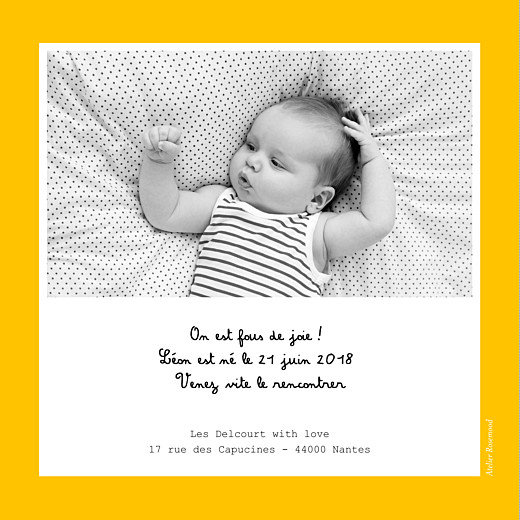 Faire-part de naissance Tutti frutti photo jaune - Page 2