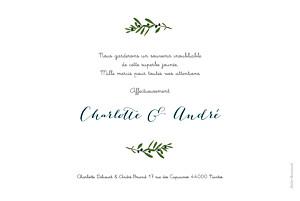Carte de remerciement mariage gris jour de fête crème