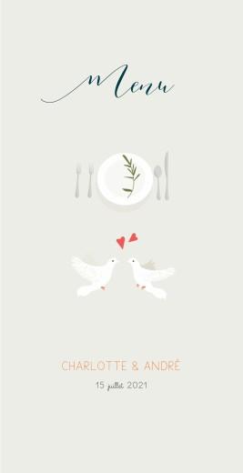 Menu de mariage Jour de fête (4 pages) crème