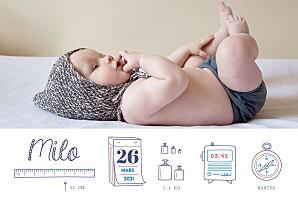 Faire-part de naissance photo illustrée ruban pictos 4 photos blanc